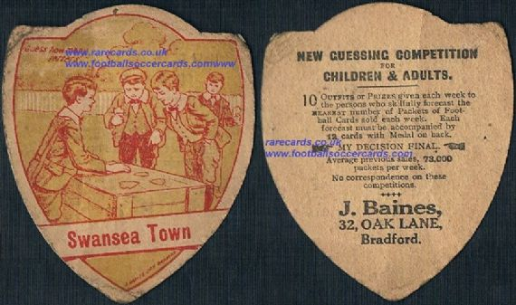 1910 Swansea Town Wales football card by Baines skagging guessing games